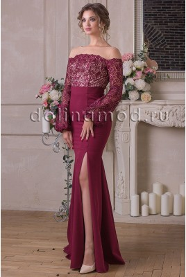 Evening dress with sleeves Emma CM-905