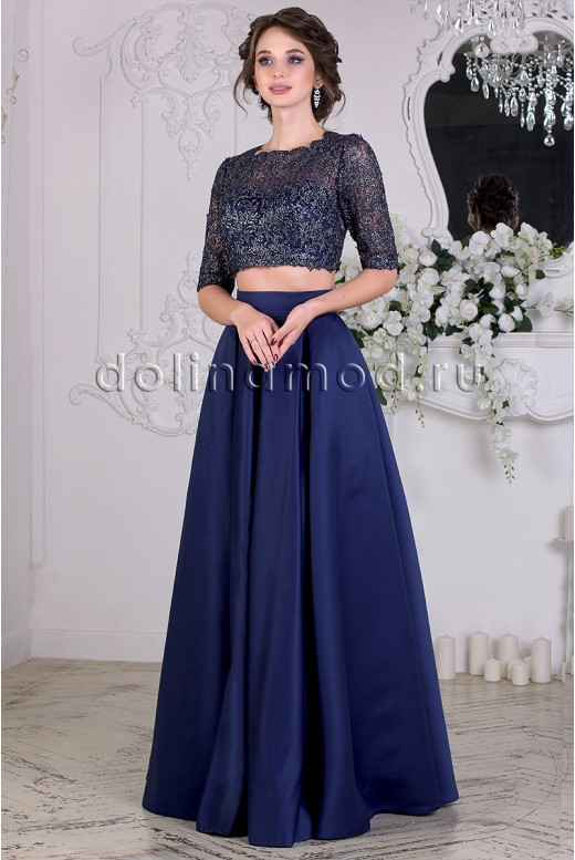 Вечернее платье  кроп топ с рукавом Valeriya DM-838