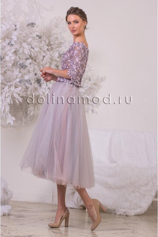 Вечернее платье кроп-топ с рукавами  Bridget DM-928