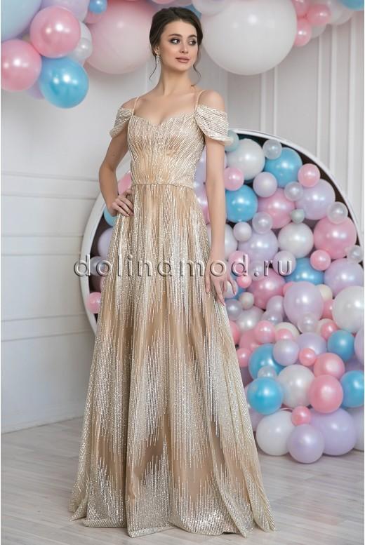 Вечернее длинное блестящее платье Eugenia DM-1019