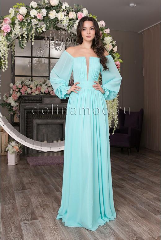 Длинное шифоновое платье с рукавами Simone DM-1035