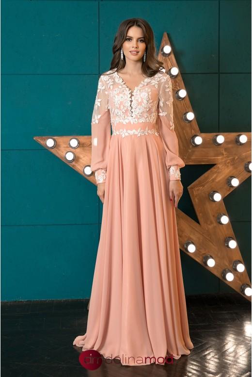 Вечернее платье в пол с длинным рукавом Madeline DM-1041