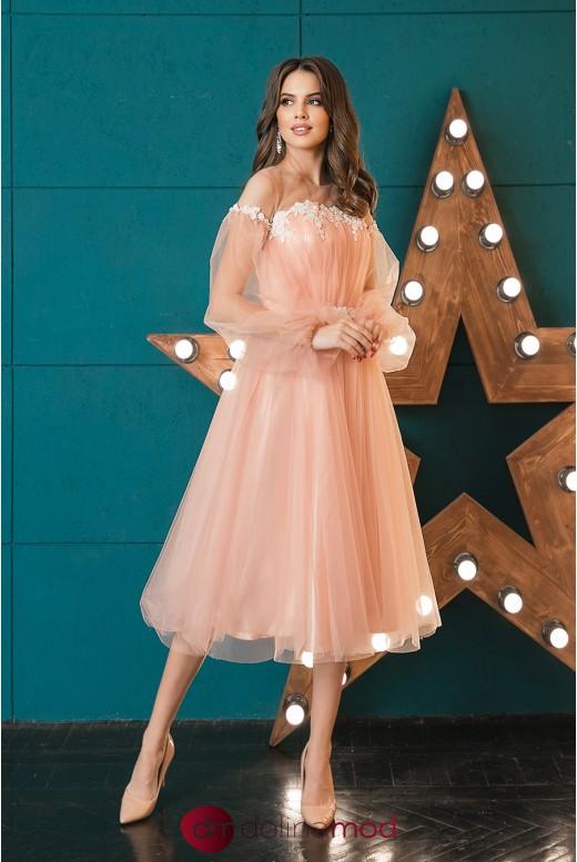 Вечернее платье миди из сетки Leslie DM-1045