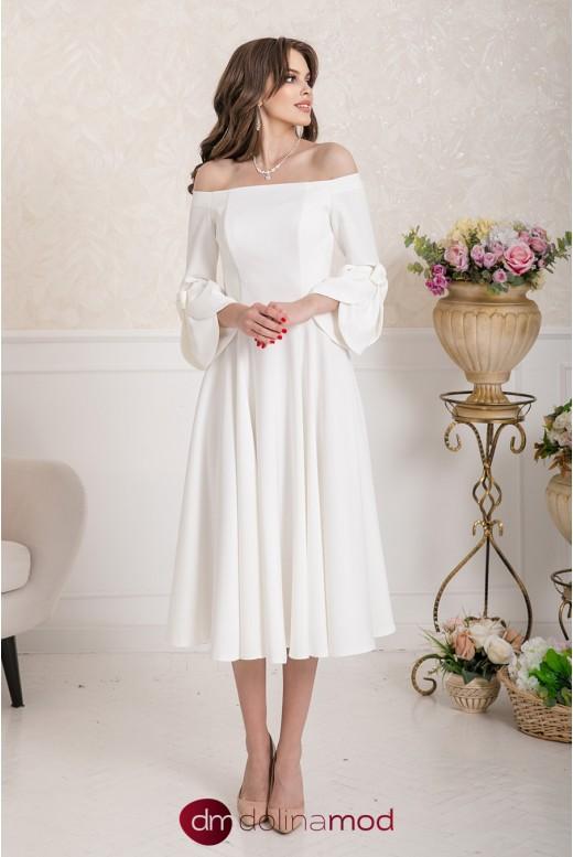 Сваднбное платье миди с рукавами и открытыми плечами Sienna MS-993
