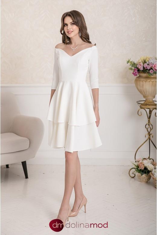 Свадебное платье длины миди с воланами на юбке Sophie MS-994