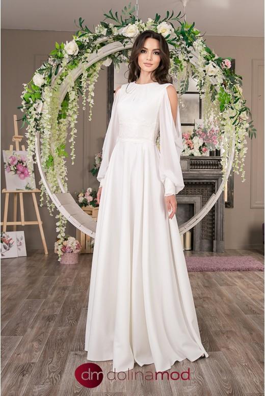 Свадебное длинное платье с рукавами Naomi MS-1036
