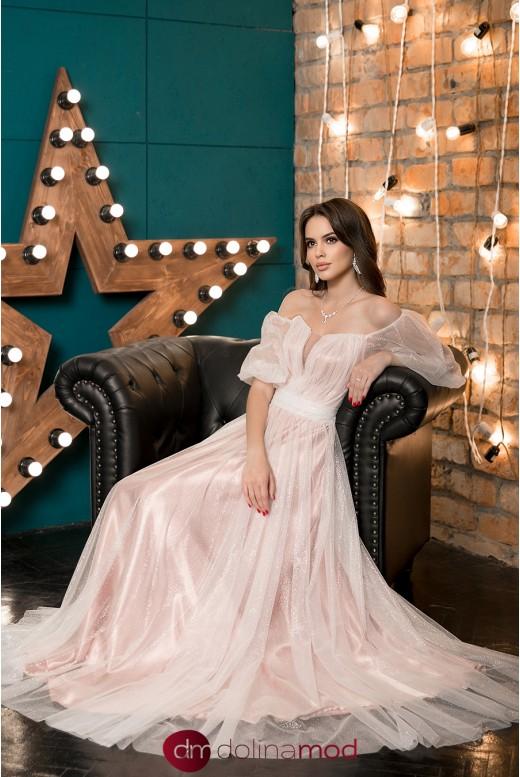 Свадебное платье с прозрачными пышными рукавами Eugene MS-1040