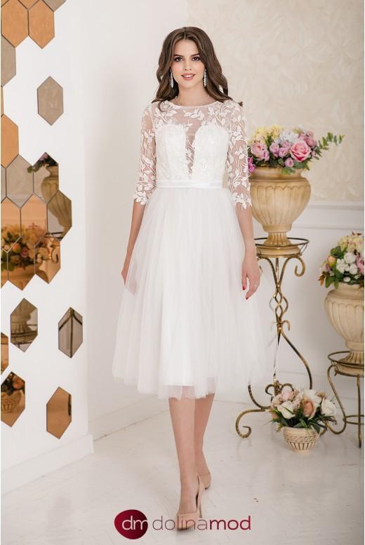 Свадебное платье миди с рукавами Andrea MS-950