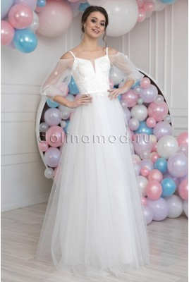 Wedding Dress with Transparent Puffy Sleeves Diletta MS-983