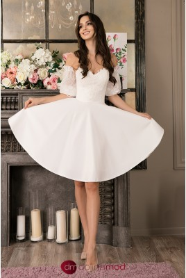 Short Wedding Dress with Removable Sleeves Maya MS-995