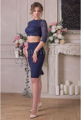 Вечернее платье кроп-топ с рукавом Julia DM-893