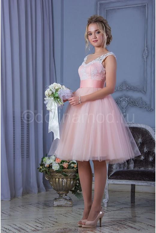 Короткое пышное выпускное платье DM-808