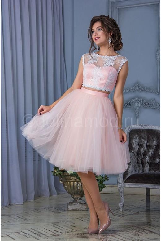 Короткое свадебное платье кроп топ DM-816